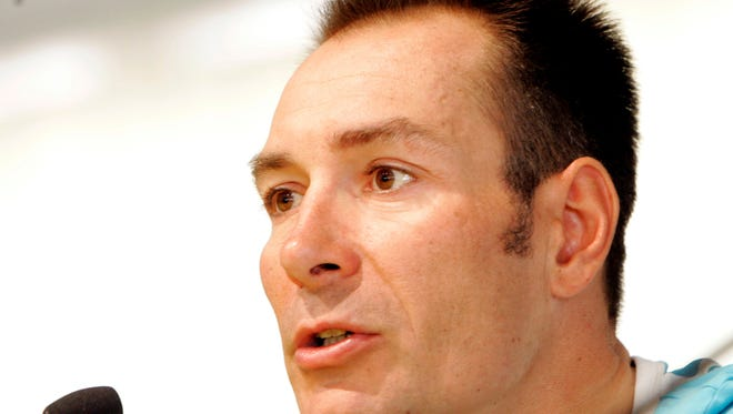 In this Sept. 26, 2008 file photo Germany's Erik Zabel answers reporters' questions a press conference, at the road World cycling Championships, in Varese, Italy. Zabel has told German newspaper Sueddeutsche Zeitung  he used banned substances including the blood-booster EPO and cortisone over several years of his career.