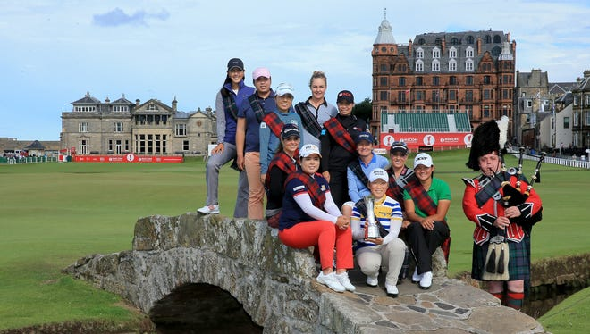 International stars (left to righ) Michelle Wie of the USA, Shanshan Feng of China, Mika Miyazato of Japan, Beatriz Recari of Spain, Inbee Park of South Korea, (centre front) Jiyai Shin of South Korea The 2012 Ricoh Women's British Open Champion (right side left to right) Charley Hull of England, Moriya Jutanugarn of Thailand, Catriona Matthew of Scotland, Natalie Gulbis of the USA, and Yani tseng of Taiwan pose on the Swilken Bridge on the 18th hole as a preview for the 2013 Ricoh Women's British Open on the Old Course at St Andrews.