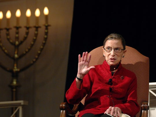 """Justice Ruth Bader Ginsburg, the first Jewish woman to be appointed to the Supreme Court, talks with filmmaker David Grubin about his PBS series """"The Jewish Americans"""", Thursday, Jan. 10, 2008 in Washington. Ginsburg said Thursday that the change in U.S. acceptance of Jews can be seen on the Supreme Court, where two members are Jewish yet their faith played no role in their selection.    (AP Photo/Kevin Wolf) ORG XMIT: DCKW107"""