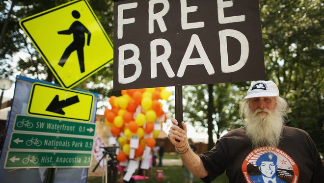 Supporters of Bradley Manning protest Friday, on the final day of closing arguments in his military trial.