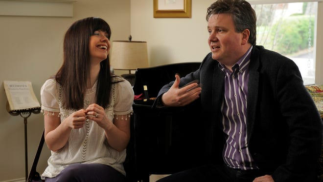 Kristyn and Keith Getty, photographed Thursday April 4, 2013, in Nashville, Tenn., specialize in writing modern hymns for churches. One of Keith Getty's songs that he co-wrote, 'In Christ Alone,' has sparked some controversy.