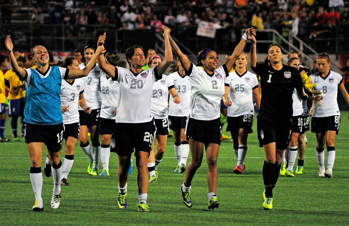 Leroux scores twice as U S  women's soccer tops Brazil