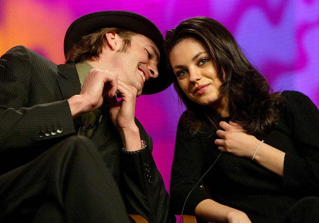 Kutcher and Kunis during the Fox Television Critics Association Press Tour on Jan. 16, 2004.