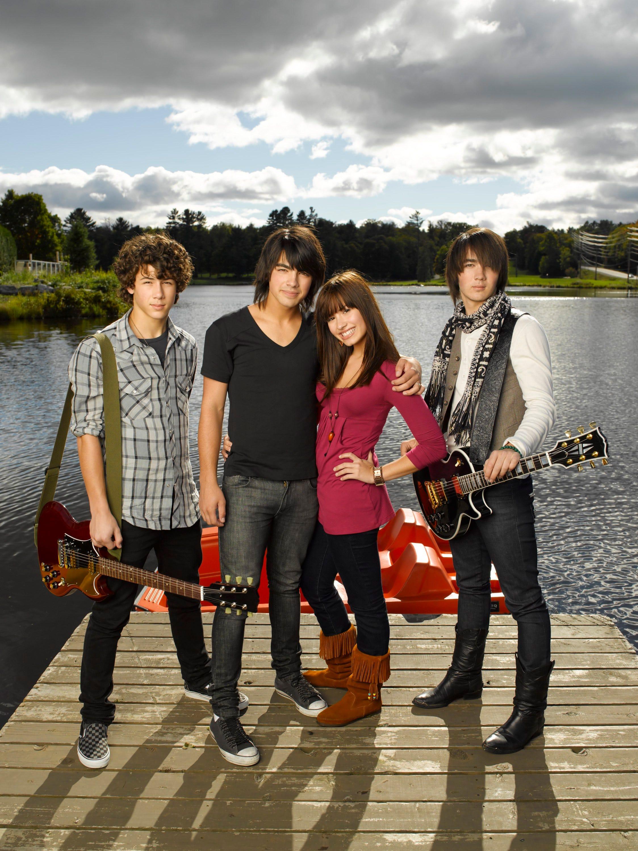 "Nick Jonas, Joe Jonas, Demi Lovato and Kevin Jonas star together in Disney's ""Camp Rock."""