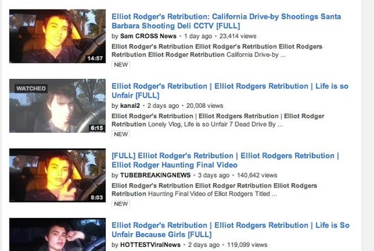 Videos of Elliot Rodger have been posted on YouTube.
