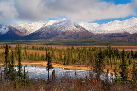 Wrangell St. Elias National Park is the largest in the U.S. park system and one of the most visually stunning. Pictured here is the view from Dead Dog Hill, a rest area and ideal location for spotting moose, caribou and trumpeter swans.