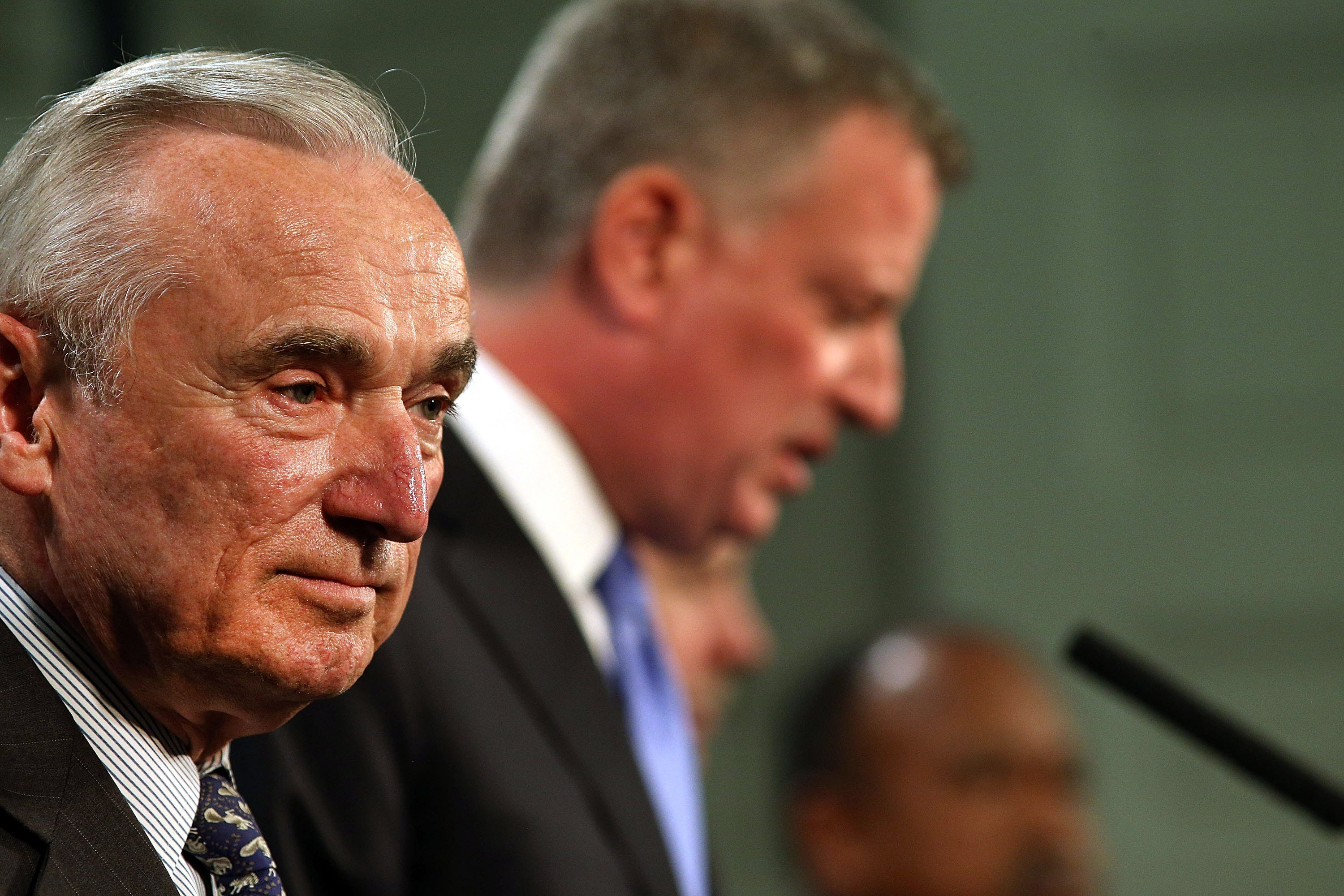New York Mayor Bill de Blasio, right, and New York Police Commissioner William Bratton speak to the media at a news conference to address the recent death of a man in police custody on July 18 in New York City.