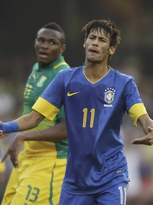Brazil's Neymar reacts during his team's 1-0 win against South Africa in a friendly on Friday.