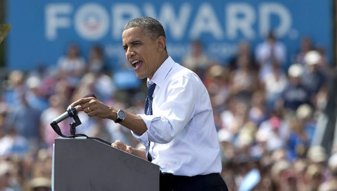 President Obama speaks at a campaign event at Strawbery Banke Museum in Portsmouth, N.H. on Friday.
