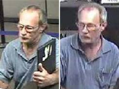 """Surveillance photos provided by the Federal Bureau of Investigation's St. Louis Division of a serial bank robber dubbed the """"Bucket List Bandit."""""""