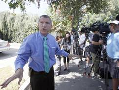 "Los Angeles Sheriff's Department spokesman Steve Whitmore speaks to media outside the home of Nakoula Basseley Nakoula in Cerritos, Calif. Nakoula has said that he helped with logistics for the filming of ""Innocence of Muslims."""