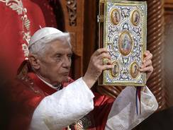 Pope Benedict XVI  leads a ceremony in St. Paul Basilica in Harissa, near Beirut on Friday.