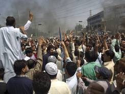 Pakistani protesters shout anti-U.S. slogans at a rally in Rawalpindi, Pakistan on Friday.