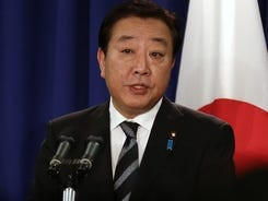 Prime Minister of Japan Yoshihiko Noda addresses a news conference in New York on Wednesday.