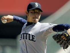 Mariners starter Hisashi Iwakuma allowed two runs -- one earned -- and struck out three in six innings Thursday against the Angels.