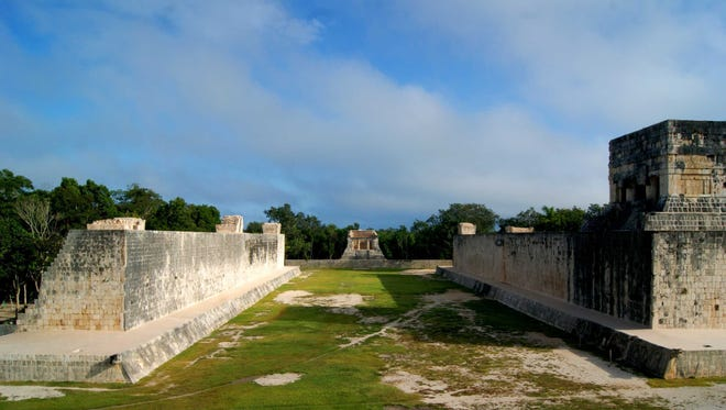 A ceremonial ball court at the temples of Chichen Itza on the Yucatan Peninsula, Mexico.