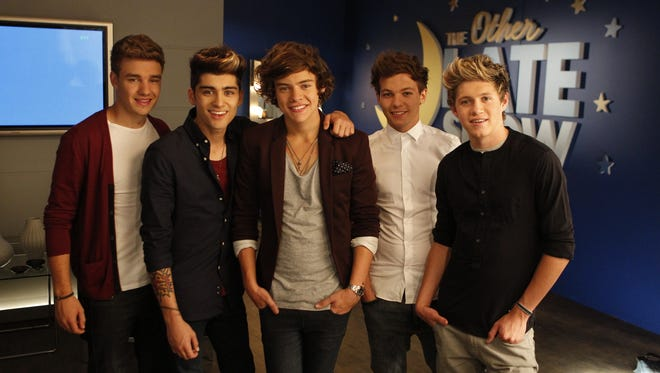 Liam Payne, left, Zayn Malik, Harry Styles, Louis Tomlinson and Niall Horan of One Direction.