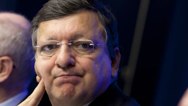 European Commission President Jose Manuel Barroso appears at a media conference at an EU summit in Brussels on Thursday.