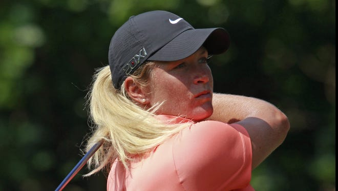 Suzann Pettersen of Norway fires a 7-under 65 to grab a share of the second-round lead at the LPGA Taiwan Championship.
