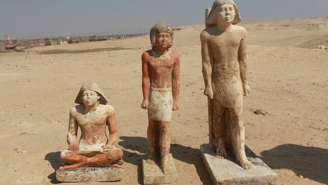 Three recently discovered statues were found in a complex of tombs, including one of pharaonic princess Shert Nebti, in the Abusir region, south of Cairo, Egypt.