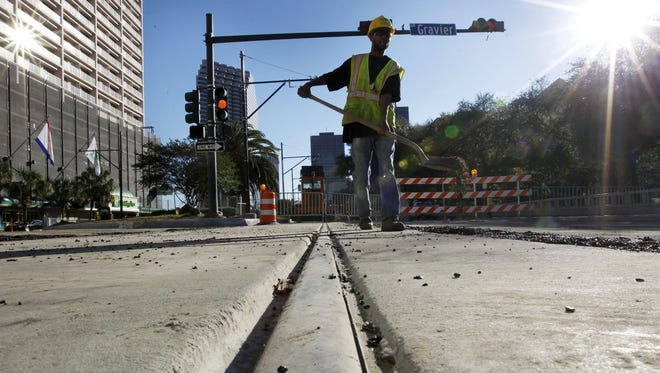 Construction continues on streetcar tracks along Loyola Avenue in New Orleans on Nov. 8, 2012.