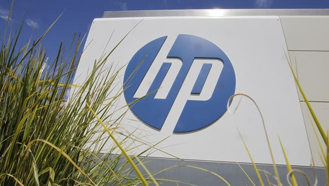 The Hewlett-Packard logo outside the company's headquarters in Palo Alto, Calif.