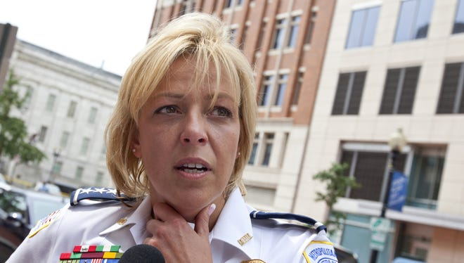 D.C. Police Chief Cathy Lanier meets with reporters.
