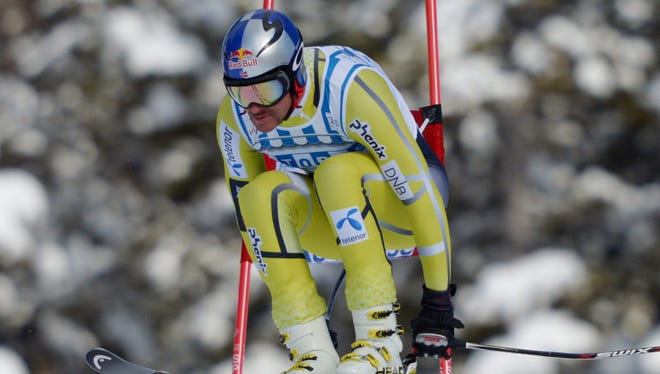 Aksel Lund Svindal of Norway speeds down the hill during the men's World Cup downhill ski race.