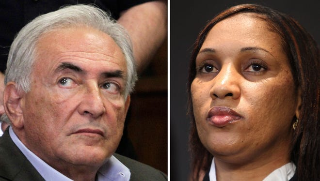 This combo made from file photos shows former International Monetary Fund chief leader Dominique Strauss-Kahn, left, and Nafissatou Diallo on July 28, 2011.