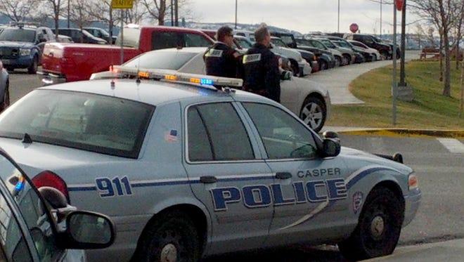 Police investigate a homicide at Casper College in Casper, Wyo.