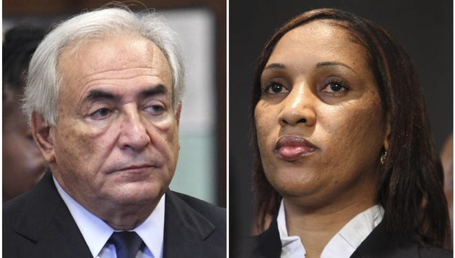 Former IMF leader Dominique Strauss-Kahn, left, and Nafissatou Diallo are seen in New York.