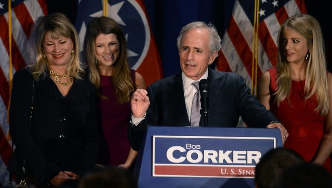 Sen. Bob Corker, R-Tenn., speaks to supporters at an election night victory rally at the Cabana Restaurant on Nov. 6 in Nashville.