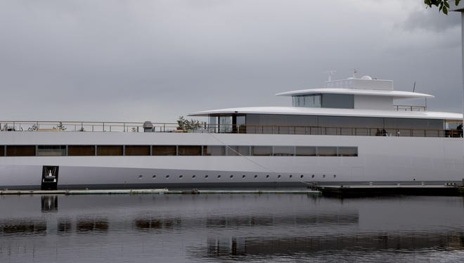 The sleek, white superyacht Apple founder Steve Jobs commissioned before his death cannot leave the Netherlands yet due to a payment dispute.