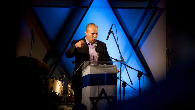 Naftali Bennett, head of the Jewish Home party, speaks in Ashdod, Israel, Wednesday.