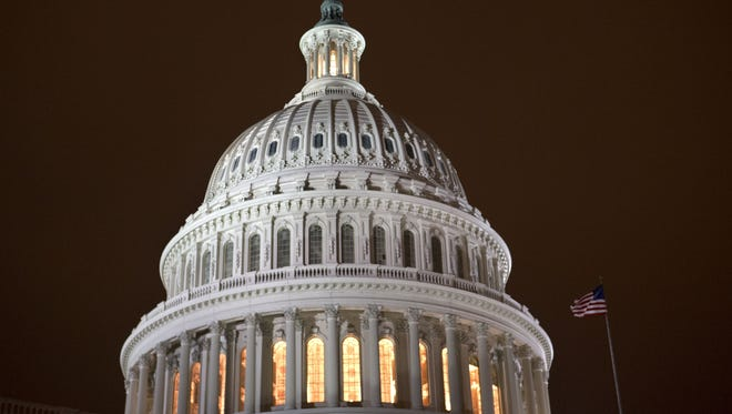 The lit-up U.S. Capitol as lawmakers voted on 'fiscal cliff' legislation Jan. 1, 2013.