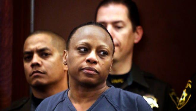 Brenda Stokes Wilson appears in Clark County Justice Court in Las Vegas.