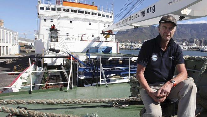 British explorer Ranulph Fiennes on board the polar vessel S.A. Agulhas in Cape Town, South Africa.