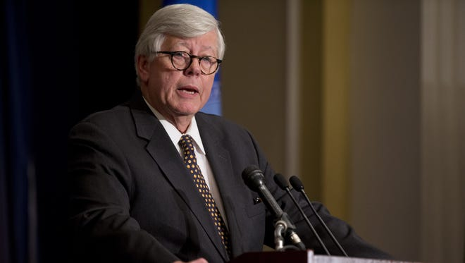 NRA president David Keene speaks during a news conference in response to the Connecticut school shooting in Washington, D.C.