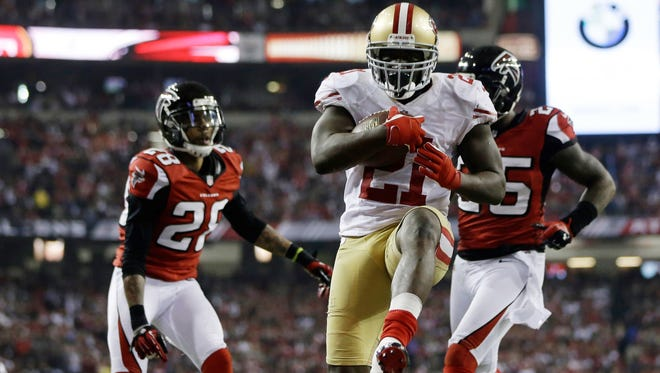 49ers running back Frank Gore was fined for wearing his socks low in the NFC Championship Game.