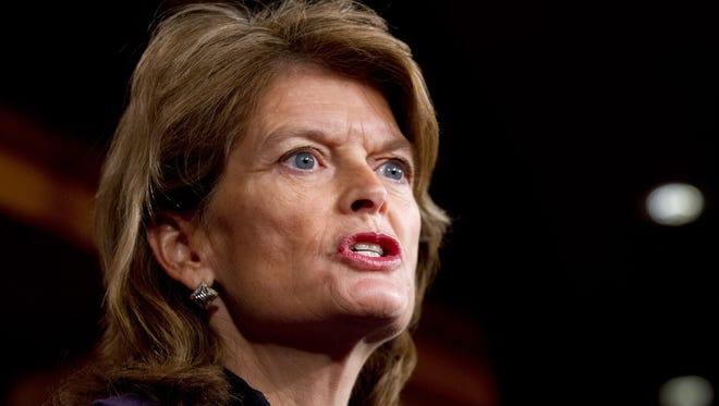 Sen. Lisa Murkowski, R-Alaska, speaks during a news conference about the Keystone XL pipeline on Capitol Hill on Wednesday.