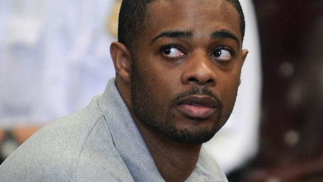 In this July 26, 2011 photo, Marque Gumbs pleads guilty to grand larceny in Manhattan Supreme Court in New York.