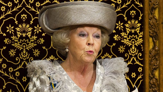 In this Sept. 20, 2011 file photo, Dutch Queen Beatrix formally opens the new parliamentary year with a speech in The Hague, Netherlands.