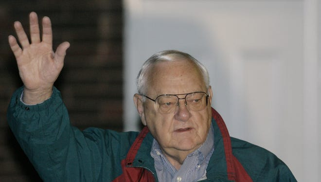 In this 2007 file photo, former Illinois Gov. George Ryan prepares to head to the federal correctional center in Oxford, Wis., to serve his sentence for his April 2006 conviction on racketeering and fraud charges.