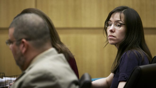 Defendant Jodi Arias appears in court for her murder trial at the Maricopa County Superior Court on Monday.