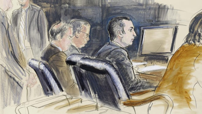In this courtroom sketch, Gilberto Valle is seen Monday in federal court in New York.