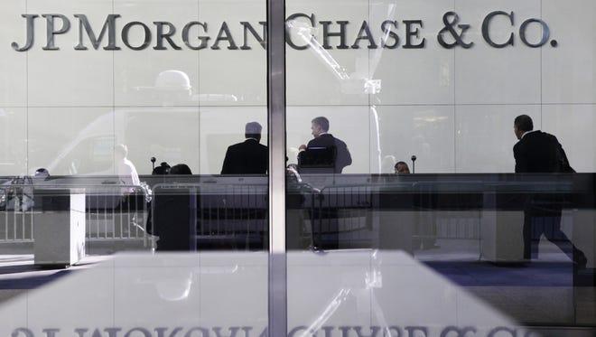 The lobby of JPMorgan's headquarters in New York.