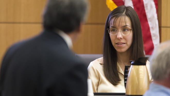 Prosecutor Juan Martinez cross examines Jodi Arias during her trial in Maricopa County Superior Court in Arizona on Tuesday.