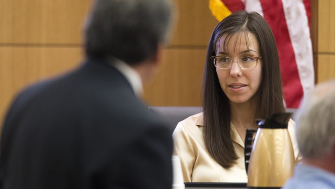 Prosecutor Juan Martinez cross examines Jodi Arias a during her trial in Maricopa County Superior Court on Tuesday.