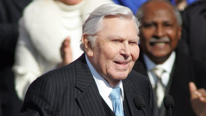 Andy Griffith, shown at Gov. Beverly Perdue's inaugural in 2009 in Raleigh, N.C.,  died last year.