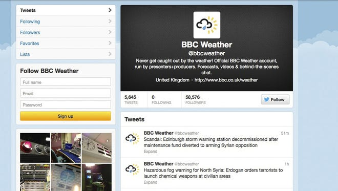 A screenshot of the Twitter account for the BBC's weather service on Thursday.
